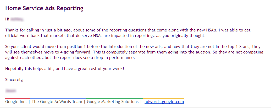 Google HSAs impact AdWords position reporting