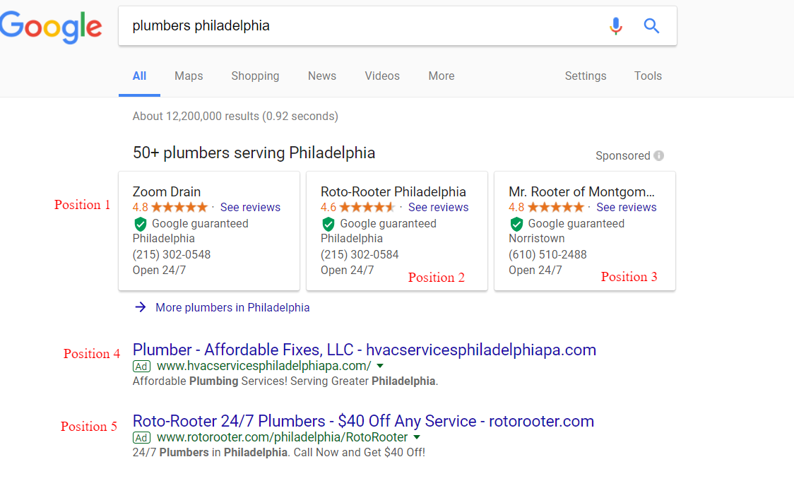 New positions when Google Home Service Ads and Google AdWords Ads show at the same time